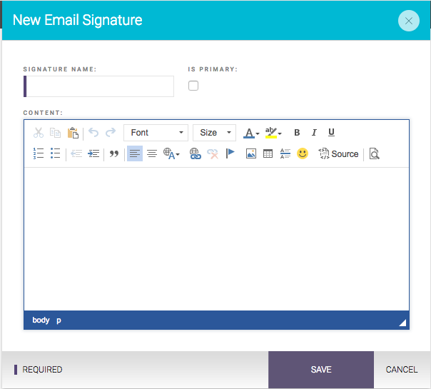 Does Zola Suite allow me to save an email signature? How can